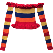 Rainbow collar striped sweater with a wo - Shirts - $25.99
