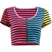 Rainbow zipper striped top - Shirts - $19.99