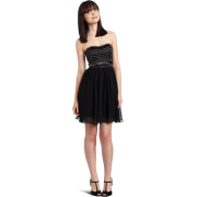 Rampage Juniors Strapless Dress With Silver Detail Black - Dresses - $23.90