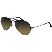 Ray-Ban Aviator Large Metal Sunglasses Rb3025 002/76 Black Crystal Polar Blu Grad Green - Sunglasses - $150.00