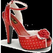 Red Satin Polka Dot Ankle Strap Platform Sandal - 9 - Sandals - $44.20