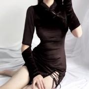 Red Cheongsam Vintage Girl Chinese Style Sexy Bandage Long Sleeve Gold Velvet Dr - 连衣裙 - $27.99  ~ ¥187.54