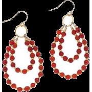 Red Hoop Earrings - Earrings -