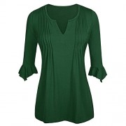RedLife Woman's Ruffled 3/4 Sleeve Split V Neck Tops Casual Party Work Pleated Blouse Jersey Tunic - Top - $12.99
