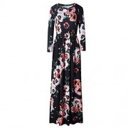 RedLife Women's Casual Beach Maternity Maxi Dress 3/4 Sleeve Floral Print Holiday Dress - Dresses - $39.99
