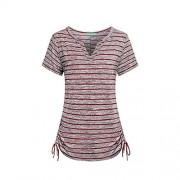 RedLife Women's Short Sleeve Striped Holiday Beach Work Party T Shirts (Red, Small) - Shirts - $15.99