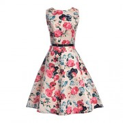 RedLife Women's Vintage 1950s Classy Floral Boat Neck Sleeveless Above Knee Casual Cocktail Spring Garden Party Mini Dress (Large, Floral 7) - Dresses - $15.99