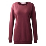 Regna X BOHO for womens long sleeve oversized crewneck wine small tunic pullover sweats sweatshirts for leggings - Accessories - $16.99