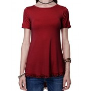 Regna X Boho Women's Short Sleeve Flare High and Low Trapeze Hemline Tunic Dress Tops - Shirts - $13.99