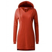 Regna X Women's Long Sleeve Casual Hoodie Dress(Plus Size Available) - Dresses - $16.99
