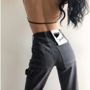Retro 90's black gray large pocket high - Jeans - $29.99  ~ 25.76€