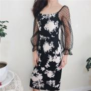 Retro Black and White Flower Thin Dress - Dresses - $27.99
