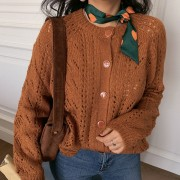 Retro Caramel Knitted Cutout Round Colla - Cardigan - $32.99