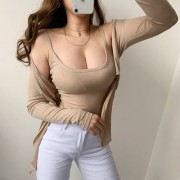 Retro Casual Sexy Perspective Elastic Sl - Shirts - $27.99