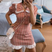 Retro French lapel plaid bubble sleeve short shirt short sleeve shirt high waist - Shirts - $29.99