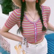 Retro Hyuna Stripe Leak Belly Button Elastic Cotton Short Sleeve T-shirt - Hemden - kurz - $28.99  ~ 24.90€