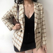 Retro Niche Plaid Suit Jacket Women's Ca - Jacket - coats - $35.99