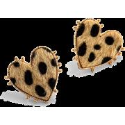 Retro Peach Heart Leopard Earrings Nhjq284951 - 耳环 -