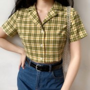 Retro Plaid Short Shirt Temperament Lapel Short Sleeve High Waist Casual Top - Рубашки - короткие - $25.99  ~ 22.32€