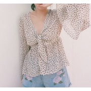 Retro Polka Dot V-neck Chest Strap Sleeve Waist Chiffon Shirt Air Conditioned Sh - Srajce - kratke - $27.99  ~ 24.04€