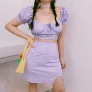Retro Puff Sleeve Square Collar Taro Purple Small Floral Top High Waist Skirt - Košulje - kratke - $27.99  ~ 24.04€