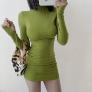 Retro Sexy Small Turtleneck Basic Bottom - Kleider - $27.99  ~ 24.04€