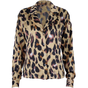 Retro Shirt Women's Leopard Print Long S - Long sleeves shirts - $25.99