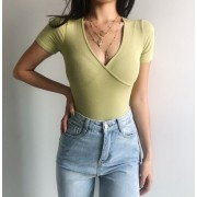 Retro Simple Solid Color Cross Deep V Sl - Shirts - $27.99