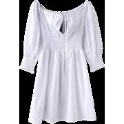 Retro Square Puff Sleeve Sleeve Pleated - Dresses - $29.99