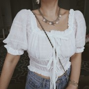 Retro White Square Collar Puff Sleeve Drawstring Lace Short Sleeve Shirt Top - Srajce - kratke - $29.99  ~ 25.76€
