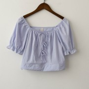 Retro bow knit sweater square collar short top - Košulje - kratke - $17.99  ~ 15.45€