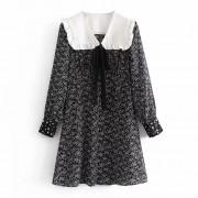 Retro bow tie navy white doll lapel prin - Dresses - $27.99