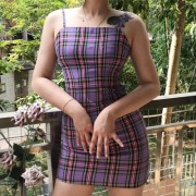 Retro check dress with small fresh trave - Платья - $27.99  ~ 24.04€
