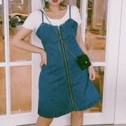 Retro denim slimming A-line suspender skirt Super versatile suspender dress - Obleke - $28.99  ~ 24.90€
