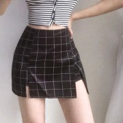 Retro fashionable high waist bag hip split A-line skirt with long legs and anti- - Suknje - $27.99  ~ 177,81kn