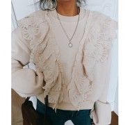 Retro girl lace ruffled round neck pullo - Cardigan - $27.99