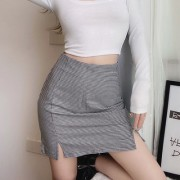 Retro high-waisted double-sided slit was thin A word bag hip skirt - Skirts - $25.99
