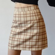 Retro high waist plaid skirt female slim slimming A-line skirt anti-glare packag - Skirts - $27.99