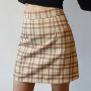 Retro high waist plaid skirt female slim slimming A-line skirt anti-glare packag - Gonne - $27.99  ~ 24.04€