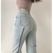 Retro light blue washed high waist hole - Jeans - $32.99