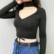 Retro love collar chest drawstring high - Shirts - $25.99