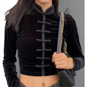 Retro national style cheongsam bottoming shirt buckle stretch long sleeve short - Košulje - kratke - $25.99  ~ 165,10kn