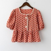 Retro polka dot stitching square collar top female French puff sleeve shirt - Košulje - kratke - $21.99  ~ 18.89€