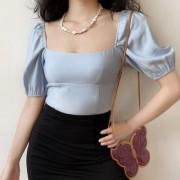 Retro sea salt blue elegant solid color square collar lantern mid-sleeved shirt - Shirts - $27.99