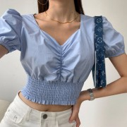 Retro short navel shirt high waist pleated waist waist top - Shirts - $26.99