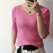 Retro simple thread knit top summer V-neck short ins wild mid-sleeved T-shirt - Srajce - kratke - $27.99  ~ 24.04€