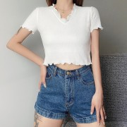 Retro simple wild high waist short section exposed navel V-neck lace small check - Shirts - $25.99  ~ £19.75