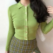 Retro slim polo collar sweater single-br - 半袖衫/女式衬衫 - $28.99  ~ ¥194.24