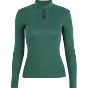 Retro small turtleneck buttoned long-sle - Pullovers - $25.99