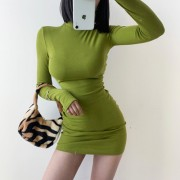 Retro solid color sexy small turtleneck basic bottoming bag hip long sleeve dres - Dresses - $27.99